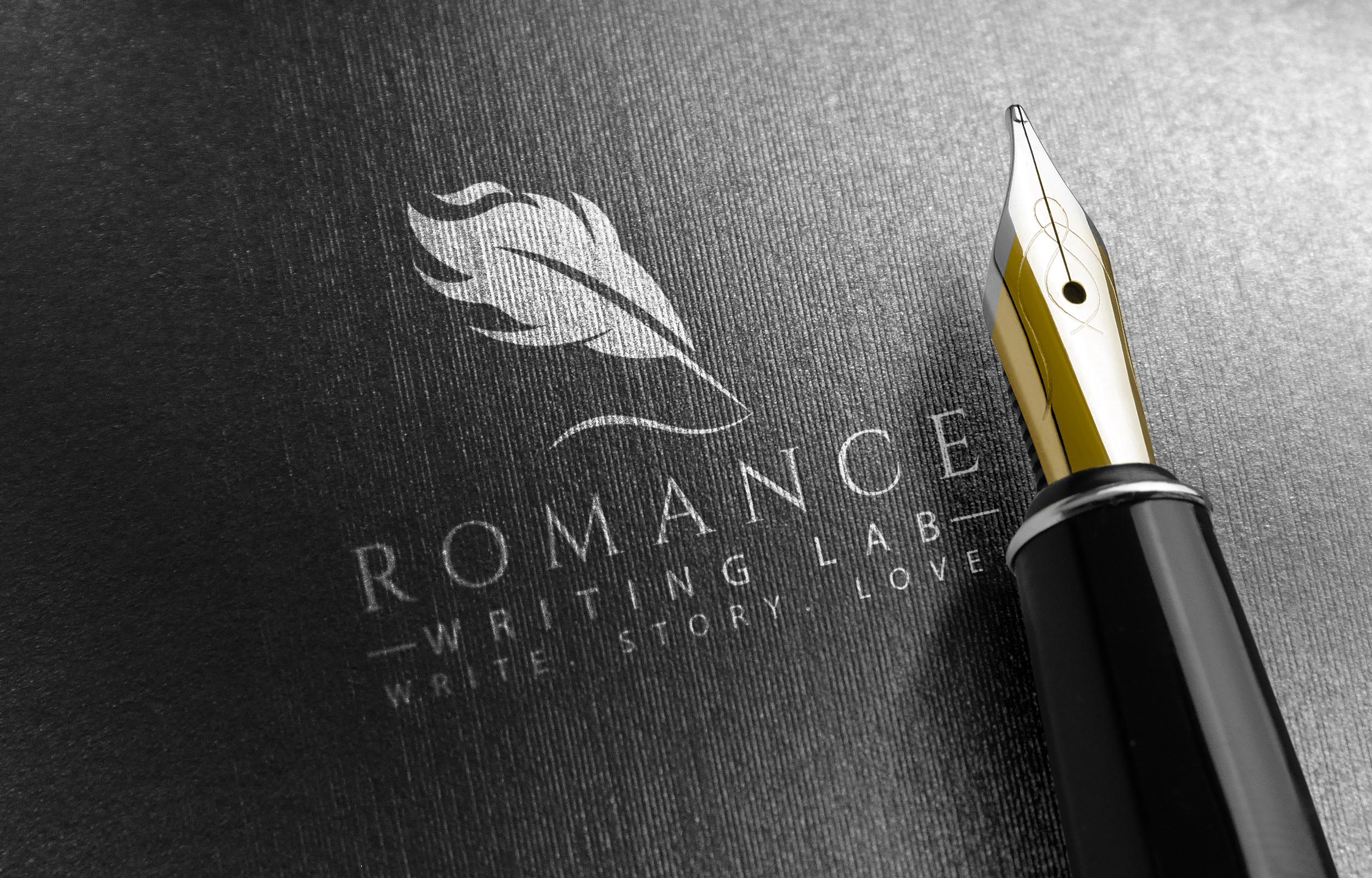 Romance Writing Lab logo with pen nib